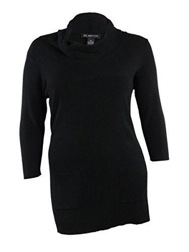 INC International Concepts Womens Cowl Neck Pocket Knit Top (0X, Deep Black)