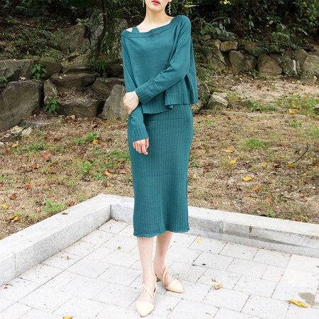 ニットトップセットワンピースミディアムギジャンガムのセクシーなセットワンピースkorea fashion style