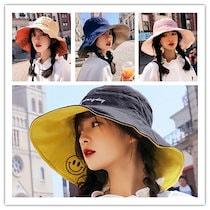 【大好評、リバーシブル、当日発送 】UVハット スマイル刺繍 リバーシブル 両面使える 小顔効果抜群 紫外線100%カット 折りたたみ帽子あご紐付き 日除け帽子 韓国ファッション ニコちゃん