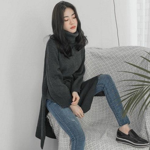 【WhiteFox]トレンディーポーラロングひらきニットkorea fashion style free shipping