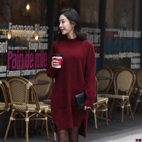 ココアベニュールージュポケットニット・ワンピース71204 ニット・ワンピース/ 韓国ファッション
