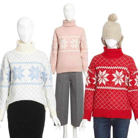 ジェイジェイジコトゥ雪花プリントタートルネックのセーターGHCN1KTM8 ニット/セーター/パターンニット/韓国ファッション