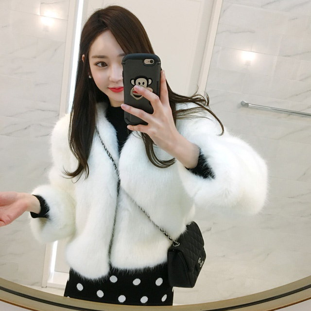 ショートファージャケットkorean fashion style