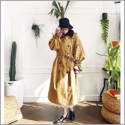 [前髪]オボピッワイド小売リボントレンチロングコートn0219 /トレンチコート/コート/韓国ファッション