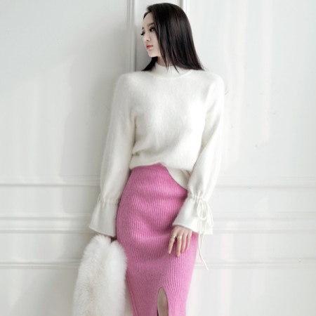 [ディントゥ] E-4263の文字列アンゴラニットトップkorea fashion style