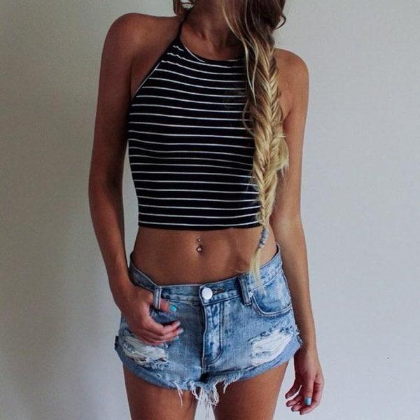 Women Sexy Stripe Print Sleeveless Halterneck Tank Crop Tops Vest Blouse T-Shirt Perfect Present