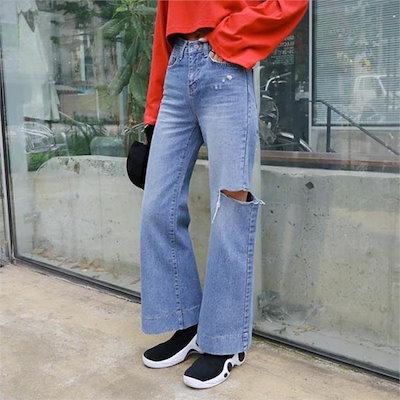 174、バーニング・クルの横に広がることにワイド・パンツnew パンツ/デンパンツ/韓国ファッション