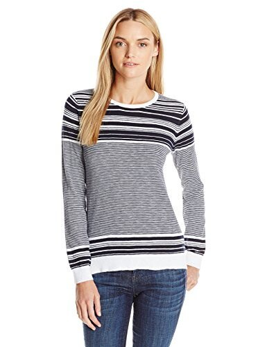 Vince Womens Sweater Graphic Stripe Cotton Slub Crew, White/Coastal, Large