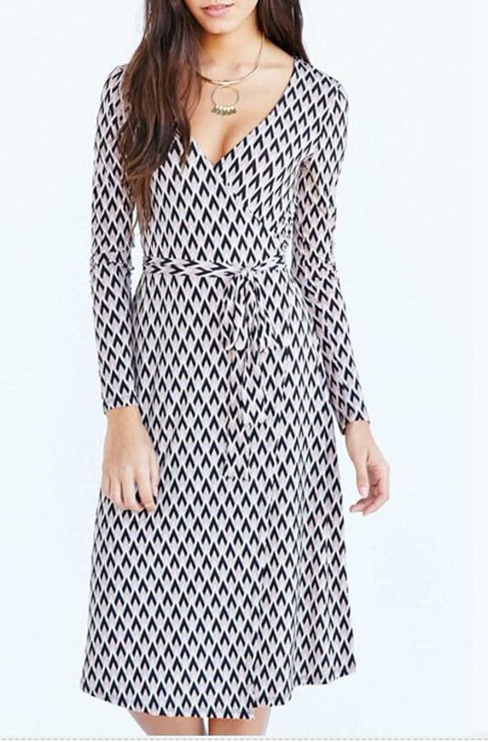 レディー女性膝丈ロングスリーブ ラップドレス ワンピース チュニック 大きなプラスサイズ