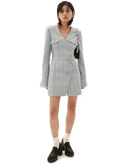[ODD ONE OUT] SS 21 Tweed Jacket one-piece_SKY BLUE