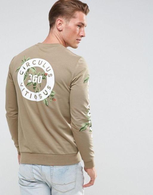 ASOS Muscle Sweatshirt With Printed Back & Sleeves
