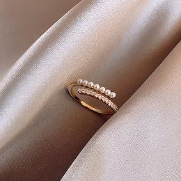 国内無料発送 パール  CZ  リング 指輪 金属アレルギー対応 高品質新作入荷 彼女 レでイース  誕生日 ギフト アクセサリー 韓国ファッション  フリーサイズ 調整可能