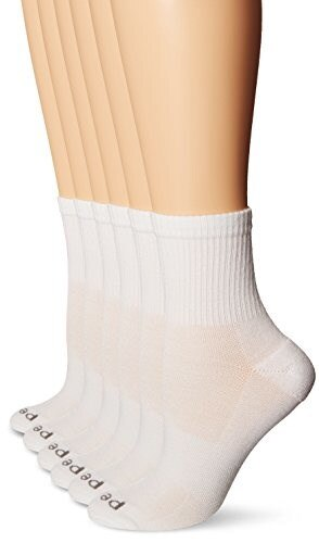 PEDS Womens Coolmax Quarter Sock with Massaging Bar Cushion, White/White/Pink, 5-10 (6 Pair Pack)