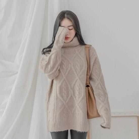 ホワイト・フォックスモクポルラケーブルロング・ニット ニット/セーター/タートルネック/ポーラーニット/韓国ファッション