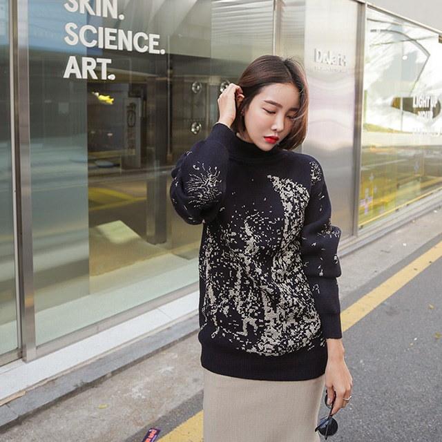 パターン首ポーラニットティー、デイリールックkorea women fashion style