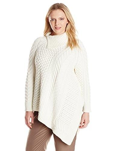 Vince Camuto Womens Plus-Size Long Sleeve Asymmetrical Hem Turtle Neck Mix Cable Sweater, Antique/White, 1X