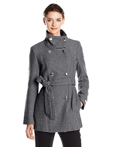 Calvin Klein Womens Double Breasted Wool Coat with Belt, Mech Grey, X-Large
