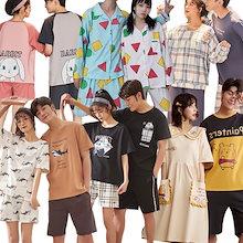 【新入荷パジャマ】2021最安值挑战 夏向けパジャマ/ルームウェア レディースパジャマ メンズ パジャマ ペアパジャマ 韓国ファッション 2点セットアップ カップル 下着 女性ふわふわワンピース婦人