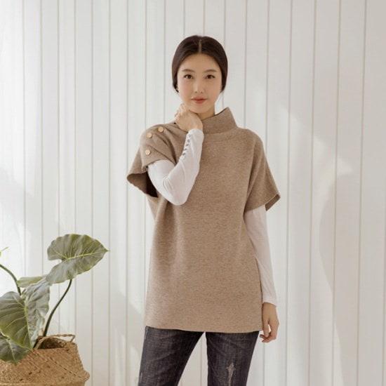 マダム4060ママの服肩のラインボタン・ニットXKN801002 大きいサイズ/ニット/セーター/韓国ファッション