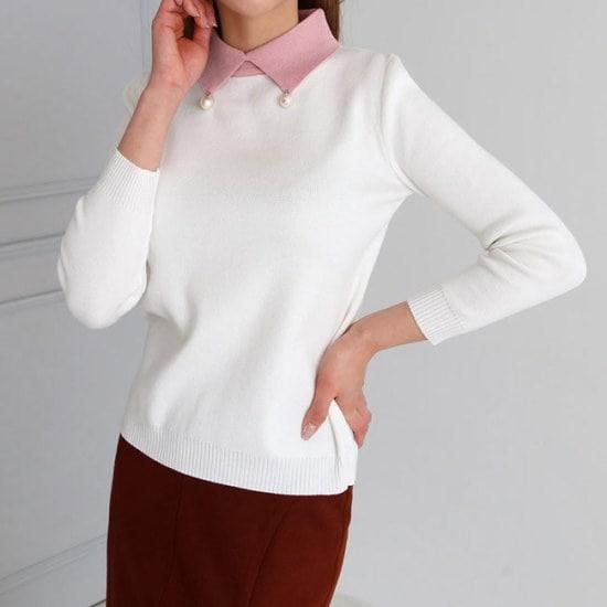 オーサムベニーカラパールニット233576 ニット/セーター/カラーニット/韓国ファッション