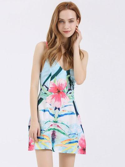 Multicolor Floral Print Straps Backless Polyester Dress