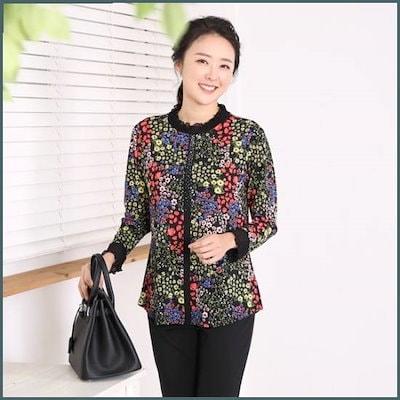 [マダムセンス]ママの服小さな野花プリルマンチョンジャンティMT6803 /シフォン/シースルーブラウス/韓国ファッション