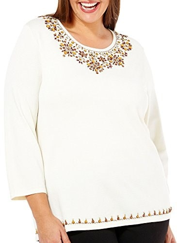 Alfred Dunner Womens Beaded Yoke Sweater (2X, Ivory)