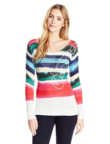 Desigual Womens Flat Knitted Pullover Long Sleeve 6,White,Small IT/ X-Small US