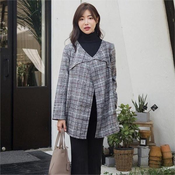 るみさんノボトゥンオープンチェックのジャケット 女性のジャケット / 韓国ファッション/ジャケット/秋冬/レディース/ハーフ/ロング/