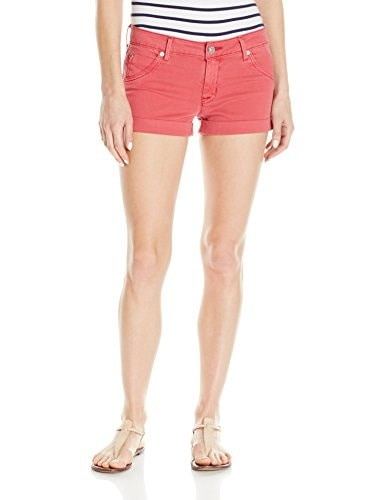 Hudson Womens Hampton Cuffed Flap Pocket Short, Red Stone, 25