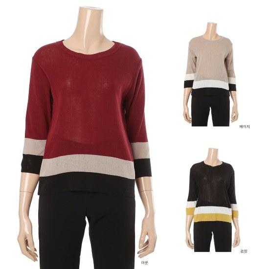 旅行、女性の裾配色ポイントルーズフィットニットシャツWWD602 ニット/セーター/韓国ファッション