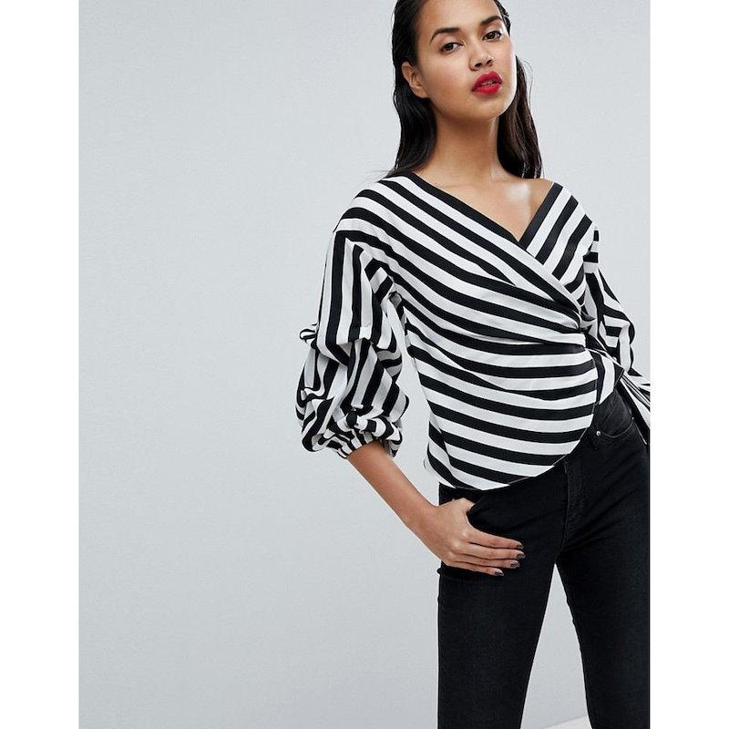 ミスガイデッド レディース トップス【Missguided Striped Exaggerated Sleeve Wrap Top】Black/white