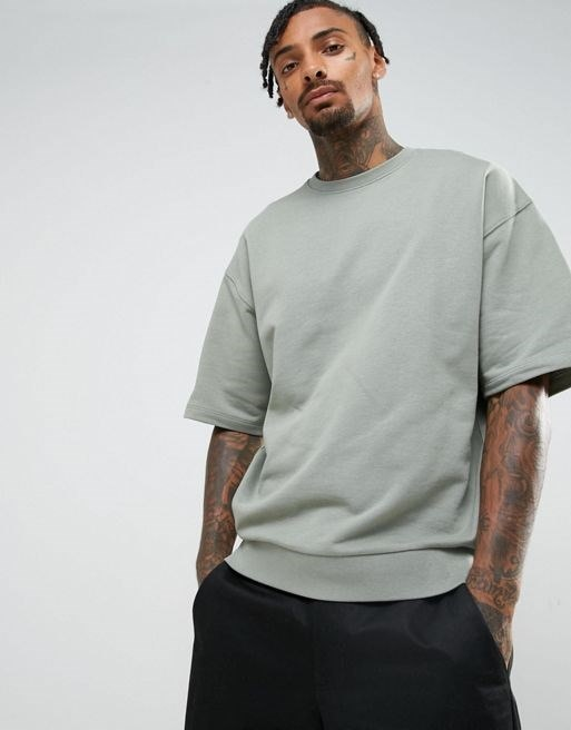 ASOS Oversized Short Sleeve Sweatshirt In Washed Green