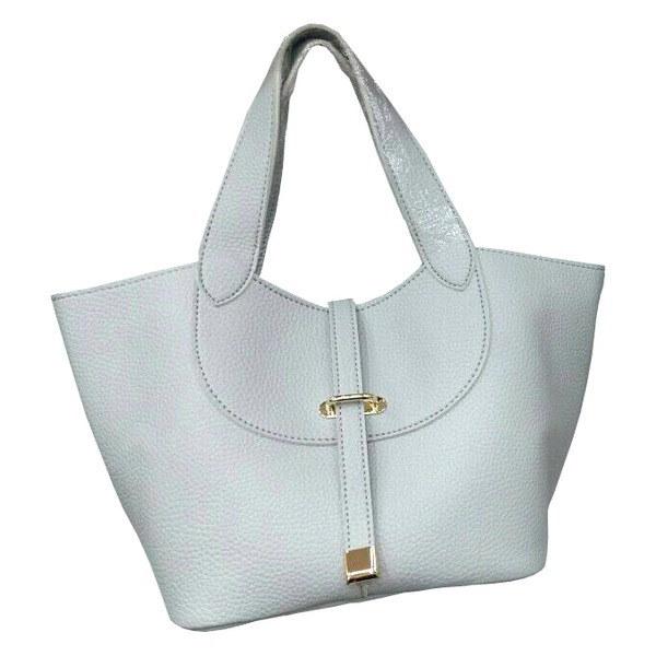 柔らか素材付♪大きく開閉する持ち手長めのシンプルハンドバッグ/グレイ