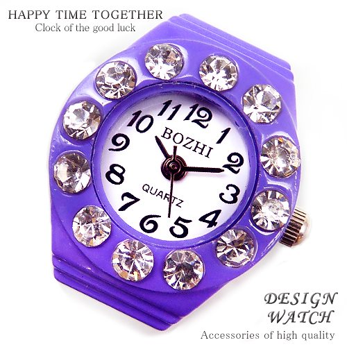 【新作 全21種】リングウォッチ パープル 紫 12粒 丸型 クロックリング 指輪時計 指時計 フリーサイズ 指輪 型 時計 かわいい フィンガーウォッチ アナログ プチプラ レディース 時計 【t2