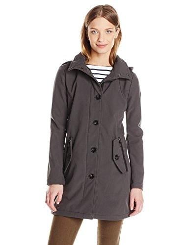 Kensie Womens Softshell Stadium Jacket, Charcoal, Large