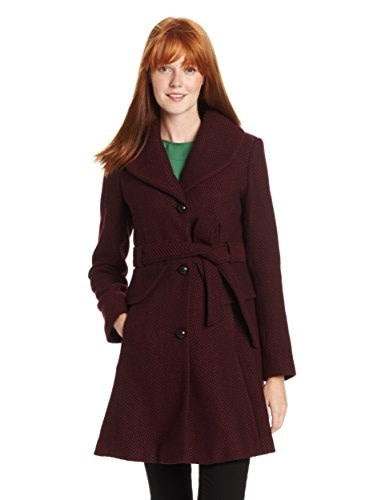 Jessica Simpson Womens Long Basketweave Wool Coat with Belt with Belt, Burgundy, Large