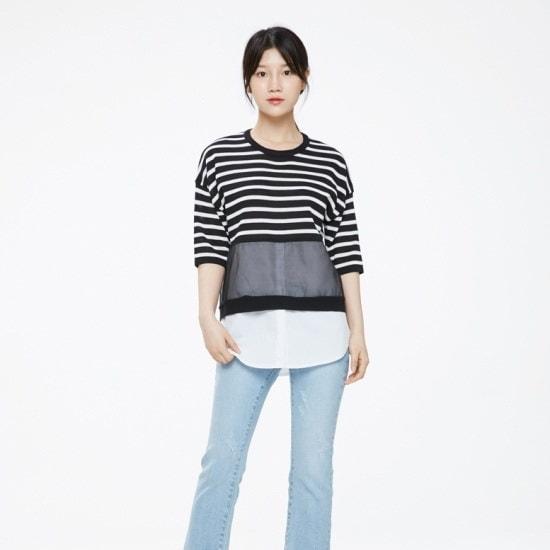 プラストーリーシャツレイヤードニートPH2KH481 ニット/セーター/韓国ファッション