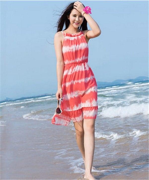 レディースワンピース ビーチワンピース 砂浜 グラデーション色 ファッション ハイセンス 着心地いい おしゃれ 夏 レディースワンピース