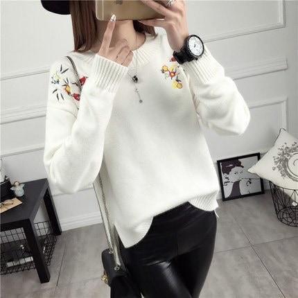 カジュアル 刺繍 長袖 ニット セーター 大人気 全3色◇【秋冬新作】