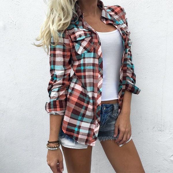 女性のボタンダウンカジュアルなラペルシャツのチェック柄のフランネルシャツトップブラウス
