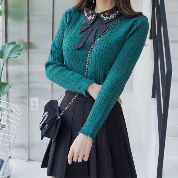 ビジュネクカラニットnew 女性ニット/ラウンドニット/韓国ファッション