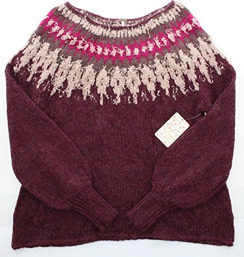 Free People Baltic Fair Isle Womens Pullover Chunky Sweater (M, Berry)