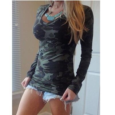 女性ファッションロングスリーブVネックカモフラージュスリムカジュアルTシャツ