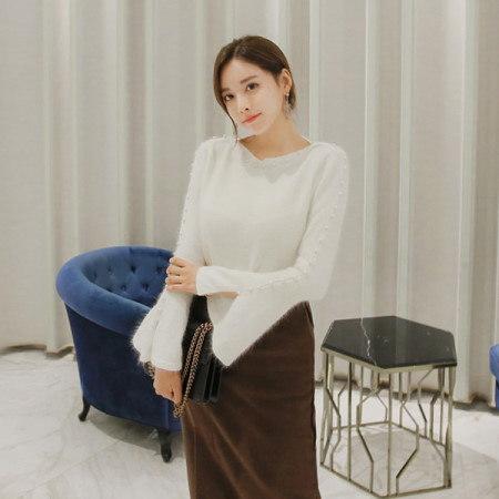 [Tom n Rabbit]アンゴラパールニットスリムフィットひらきニットアンゴララッパ袖korean fashion style