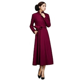 Stand Up Collar Fit and Flare Coat