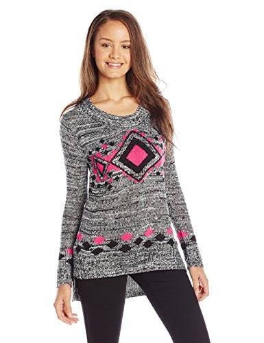 Derek Heart Juniors Long Sleeve Scoop Neck Printed Tunic Sweater, Pink Combo, Large