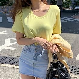 🔥1+1🔥✨DRESSCAFE✨[韓国ファッション] ♥ Limited item!♥ (5color) レーヨン無地Uネック半袖Tシャツ
