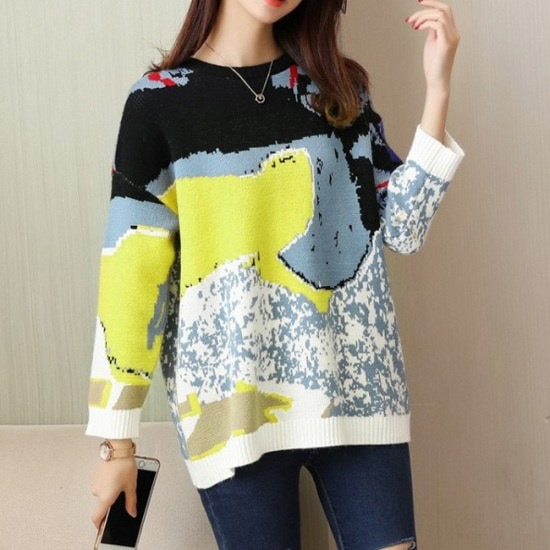 オーサムダービーウール配色ニット232763 ニット/セーター/ニット/韓国ファッション