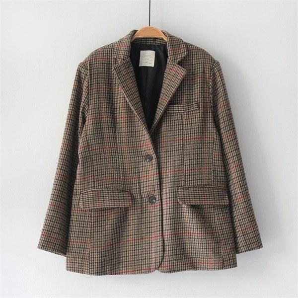 バゲットチェックのジャケット 女性のジャケット / 韓国ファッション/ジャケット/秋冬/レディース/ハーフ/ロング/